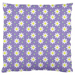 Daisy Dots Violet Large Flano Cushion Case (one Side)