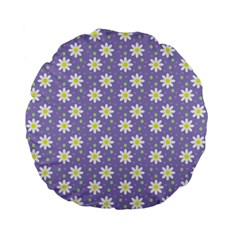 Daisy Dots Violet Standard 15  Premium Flano Round Cushions