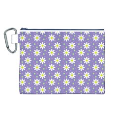 Daisy Dots Violet Canvas Cosmetic Bag (l)
