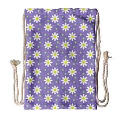 Daisy Dots Violet Drawstring Bag (large)