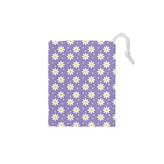 Daisy Dots Violet Drawstring Pouches (xs)