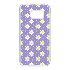 Daisy Dots Violet Samsung Galaxy S7 White Seamless Case