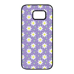 Daisy Dots Violet Samsung Galaxy S7 Edge Black Seamless Case