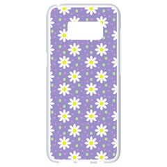 Daisy Dots Violet Samsung Galaxy S8 White Seamless Case