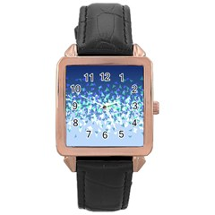 Blue Disintegrate Rose Gold Leather Watch