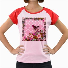 Shabby Chic,floral,bird,pink,collage Women s Cap Sleeve T Shirt