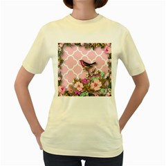 Shabby Chic,floral,bird,pink,collage Women s Yellow T Shirt