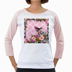 Shabby Chic,floral,bird,pink,collage Girly Raglans