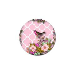 Shabby Chic,floral,bird,pink,collage Golf Ball Marker (4 Pack)