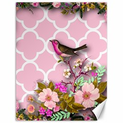 Shabby Chic,floral,bird,pink,collage Canvas 12  X 16