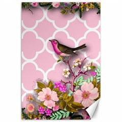Shabby Chic,floral,bird,pink,collage Canvas 24  X 36
