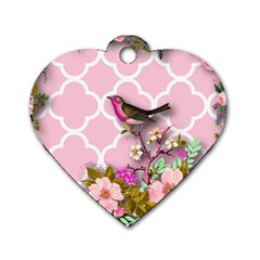 Shabby Chic,floral,bird,pink,collage Dog Tag Heart (two Sides)