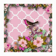 Shabby Chic,floral,bird,pink,collage Medium Glasses Cloth (2 Side)