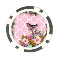 Shabby Chic,floral,bird,pink,collage Poker Chip Card Guard