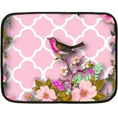 Shabby Chic,floral,bird,pink,collage Double Sided Fleece Blanket (mini)