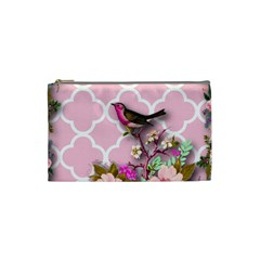 Shabby Chic,floral,bird,pink,collage Cosmetic Bag (small)