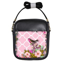 Shabby Chic,floral,bird,pink,collage Girls Sling Bags