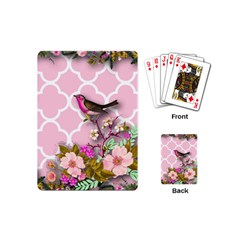 Shabby Chic,floral,bird,pink,collage Playing Cards (mini)