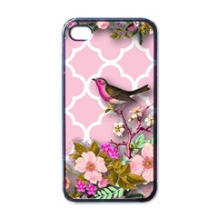 Shabby Chic,floral,bird,pink,collage Apple Iphone 4 Case (black)