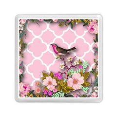 Shabby Chic,floral,bird,pink,collage Memory Card Reader (square)