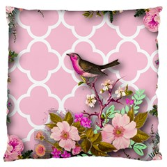 Shabby Chic,floral,bird,pink,collage Large Cushion Case (two Sides)