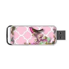 Shabby Chic,floral,bird,pink,collage Portable Usb Flash (one Side)
