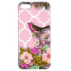 Shabby Chic,floral,bird,pink,collage Apple Iphone 5 Hardshell Case With Stand