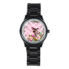 Shabby Chic,floral,bird,pink,collage Stainless Steel Round Watch