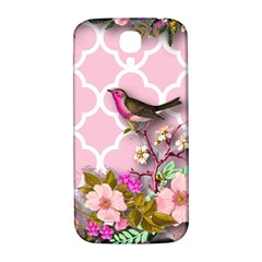 Shabby Chic,floral,bird,pink,collage Samsung Galaxy S4 I9500/i9505  Hardshell Back Case