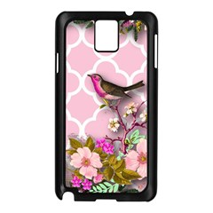 Shabby Chic,floral,bird,pink,collage Samsung Galaxy Note 3 N9005 Case (black)