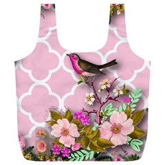 Shabby Chic,floral,bird,pink,collage Full Print Recycle Bags (l)