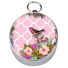 Shabby Chic,floral,bird,pink,collage Silver Compasses
