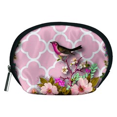 Shabby Chic,floral,bird,pink,collage Accessory Pouches (medium)