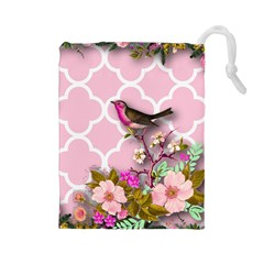 Shabby Chic,floral,bird,pink,collage Drawstring Pouches (large)