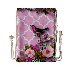 Shabby Chic,floral,bird,pink,collage Drawstring Bag (small)
