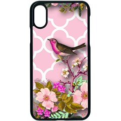 Shabby Chic,floral,bird,pink,collage Apple Iphone X Seamless Case (black)