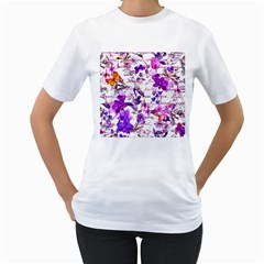 Ultra Violet,shabby Chic,flowers,floral,vintage,typography,beautiful Feminine,girly,pink,purple Women s T Shirt (white) (two Sided)
