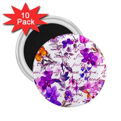 Ultra Violet,shabby Chic,flowers,floral,vintage,typography,beautiful Feminine,girly,pink,purple 2 25  Magnets (10 Pack)