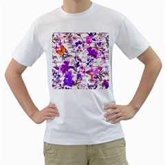 Ultra Violet,shabby Chic,flowers,floral,vintage,typography,beautiful Feminine,girly,pink,purple Men s T Shirt (white) (two Sided)