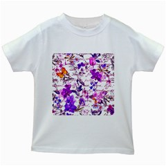 Ultra Violet,shabby Chic,flowers,floral,vintage,typography,beautiful Feminine,girly,pink,purple Kids White T Shirts