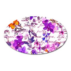 Ultra Violet,shabby Chic,flowers,floral,vintage,typography,beautiful Feminine,girly,pink,purple Oval Magnet