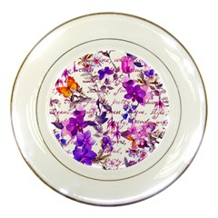 Ultra Violet,shabby Chic,flowers,floral,vintage,typography,beautiful Feminine,girly,pink,purple Porcelain Plates