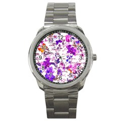 Ultra Violet,shabby Chic,flowers,floral,vintage,typography,beautiful Feminine,girly,pink,purple Sport Metal Watch
