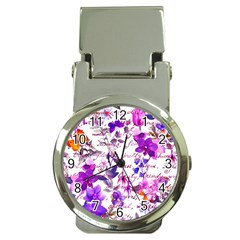 Ultra Violet,shabby Chic,flowers,floral,vintage,typography,beautiful Feminine,girly,pink,purple Money Clip Watches