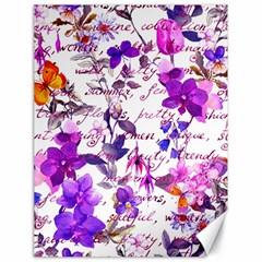 Ultra Violet,shabby Chic,flowers,floral,vintage,typography,beautiful Feminine,girly,pink,purple Canvas 18  X 24