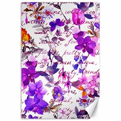 Ultra Violet,shabby Chic,flowers,floral,vintage,typography,beautiful Feminine,girly,pink,purple Canvas 24  X 36
