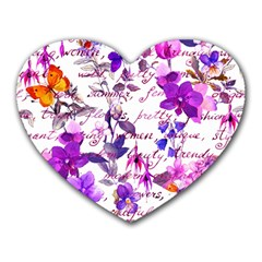 Ultra Violet,shabby Chic,flowers,floral,vintage,typography,beautiful Feminine,girly,pink,purple Heart Mousepads