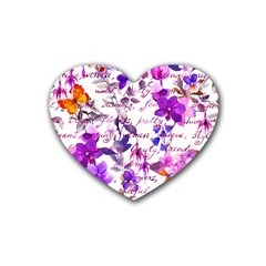 Ultra Violet,shabby Chic,flowers,floral,vintage,typography,beautiful Feminine,girly,pink,purple Rubber Coaster (heart)