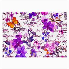 Ultra Violet,shabby Chic,flowers,floral,vintage,typography,beautiful Feminine,girly,pink,purple Large Glasses Cloth (2 Side)