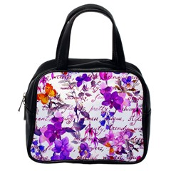 Ultra Violet,shabby Chic,flowers,floral,vintage,typography,beautiful Feminine,girly,pink,purple Classic Handbags (one Side)